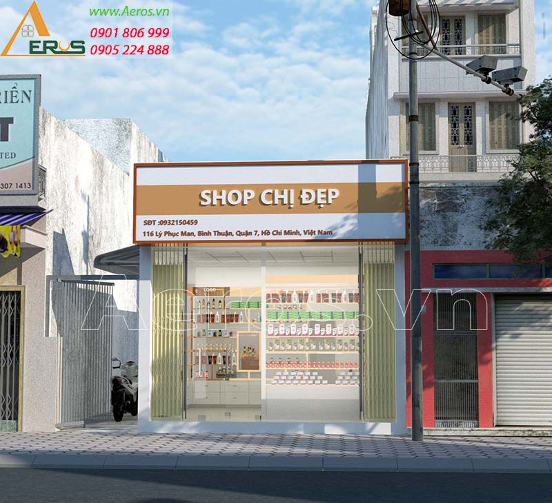 Thiết kế shop mỹ phẩm Chị Đẹp của chị Hiền quận 7
