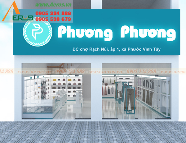Hình ảnh thiết kế biển hiệu quảng cáo cho shop mỹ phẩm Phương Phương ở Long An