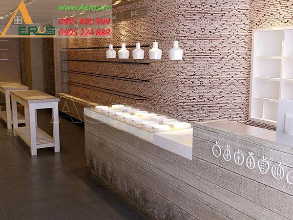 thiết kế cửa hàng mỹ phẩm nhỏ - mỹ phẩm Eden của chị Nhung