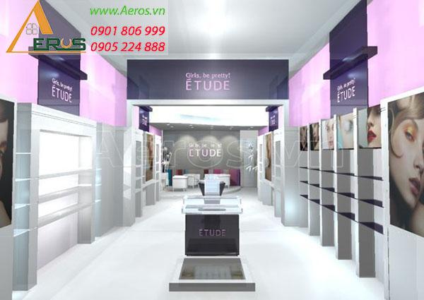 thiết kế shop mỹ phẩm Etude tại Tân Bình