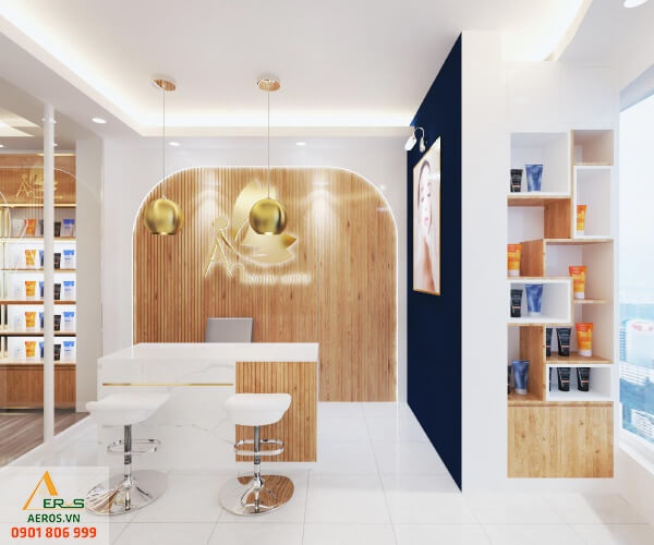 Thiết kế thi công shop mỹ phẩm An Beauty Center của anh Định tại Quận 7